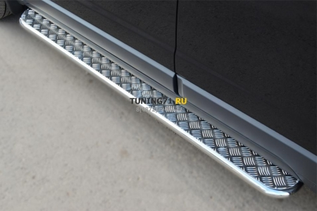 Opel Antara 2012- Пороги труба d42 с листом OAL-001370